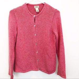 LL Bean Pink Cotton Cardigan Sweater